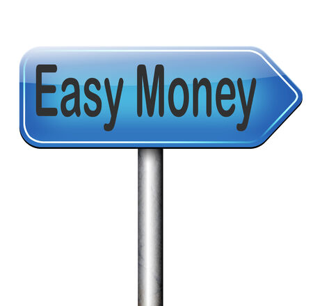 easy money: fast easy money quick extra cash make a fortune online income road sign Stock Photo