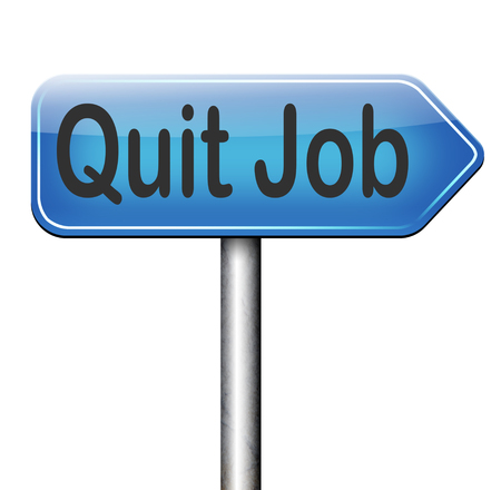 quit job road sign arrow resigning from work and getting unemployed photo