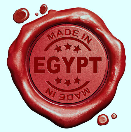 Made in Egypt red wax seal or stamp, quality label photo