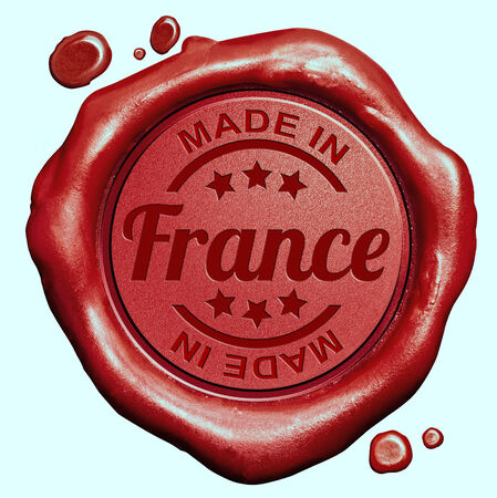 Made in France red wax seal or stamp, quality label photo