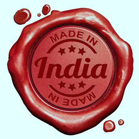 Made in India red wax seal or stamp, quality label photo