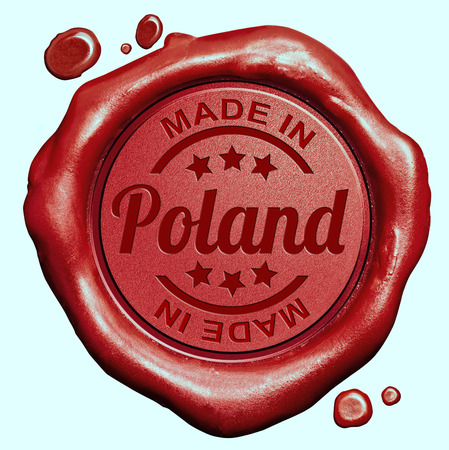 Made in Poland red wax seal or stamp, quality label photo