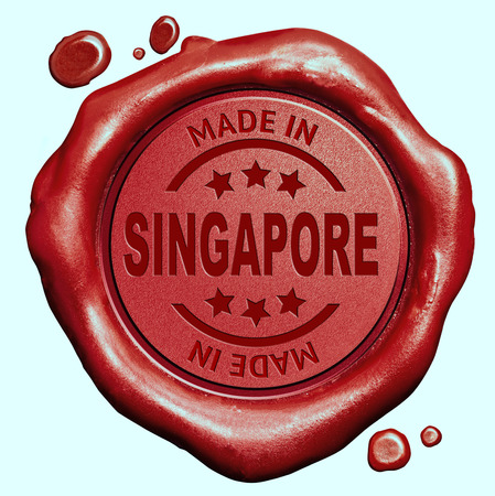 Made in Singapore red wax seal or stamp, quality label photo