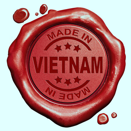 Made in Vietnam red wax seal or stamp, quality label photo