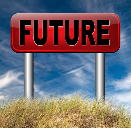 bright future: bright future ahead planning a happy future having a good plan with text and word concept science fiction prediction Stock Photo
