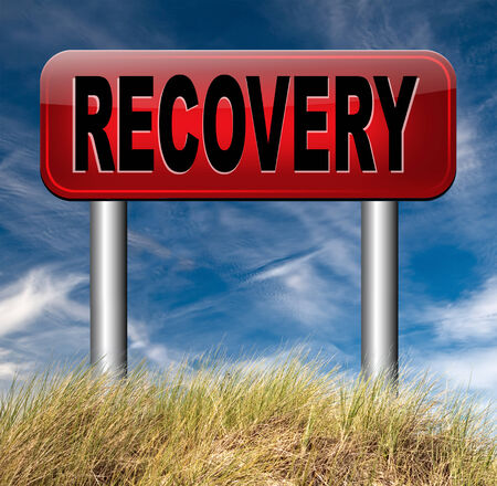 data recovery: econimic recovery recover lost data or from crisis and recession road sign