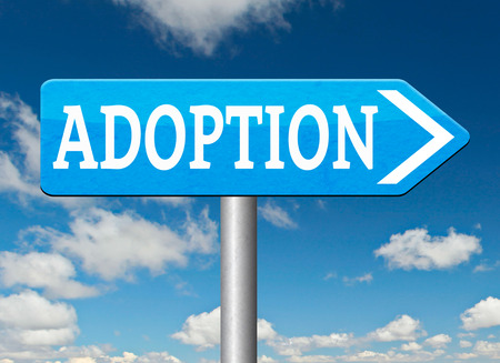 guardianship: child adoption road sign becoming a legal guardian and getting guardianship and adopt young baby Stock Photo