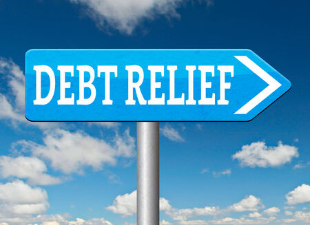 credit crisis: debt relief after bankruptcy caused by credit or housing bubbles restructuring finance after economic or bank crisis Stock Photo