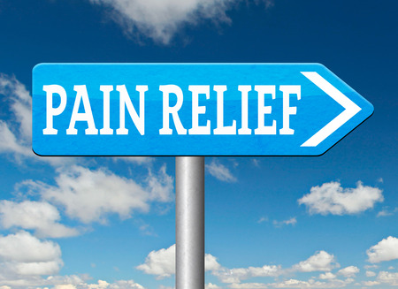 Pain Management: pain relief or management by painkiller or other treatment chronic back pain road sign arrow