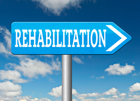 rehabilitation rehab for drugs alcohol addiction or sport and accident injury physical or mental therapy road sign arrow photo