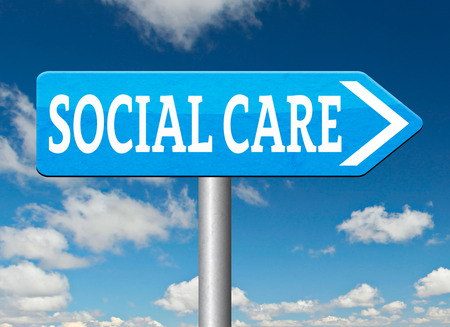 social care or health security healthcare insurance pension disability welfare and unemployment programs road sign photo