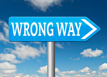 wrong way: wrong way big mistake turn back getting lost by taking wrong directions Stock Photo