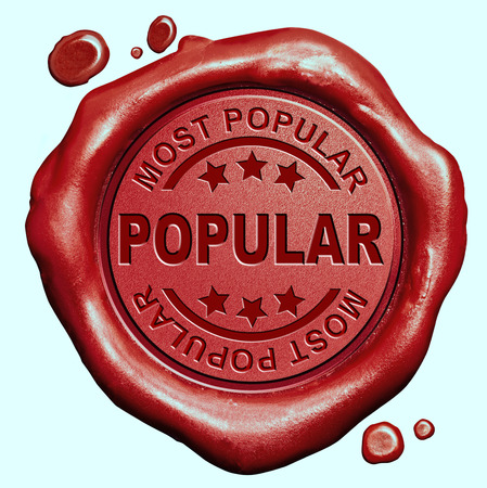 on demand: most popular in high demand new trend and trending  now wanted bestseller red wax seal stamp button Stock Photo
