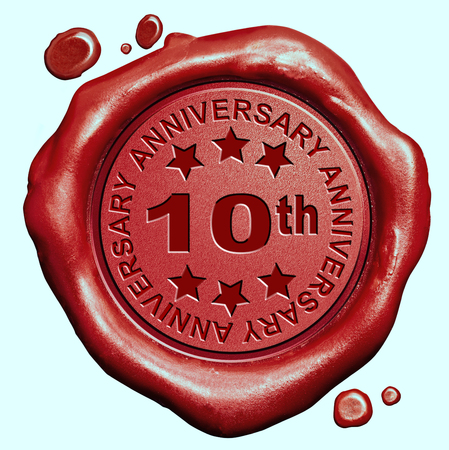 10th: 10th anniversary ten year jubilee red wax seal stamp