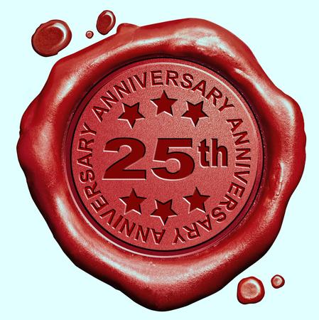 twenty five: 25 aniversario veinticinco a�os de jubileo sello de cera roja sello Foto de archivo