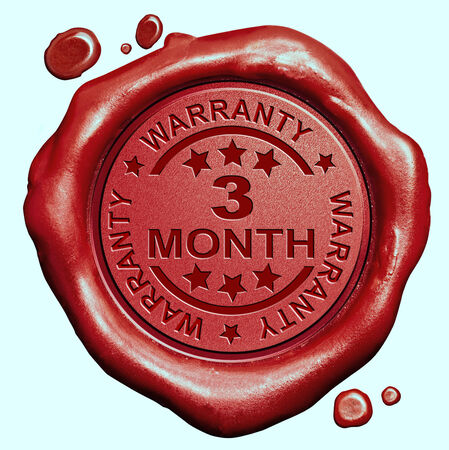 3 month: 3 month warranty guarantee red wax seal stamp button Stock Photo