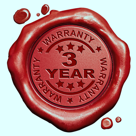 3 Year warranty quality label guaranteed product red wax seal stamp photo