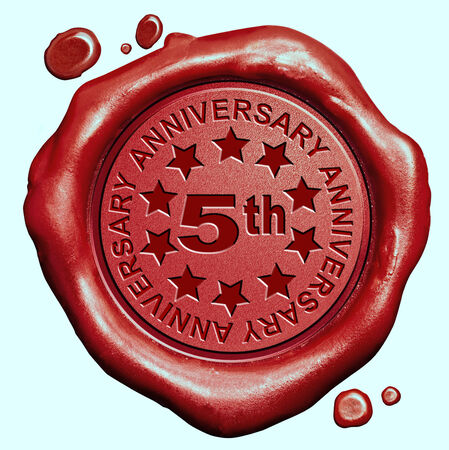 5th: 5th anniversary fifth year jubilee red wax seal stamp Stock Photo