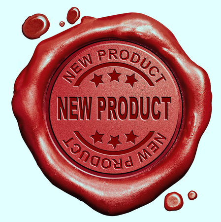 new product launch latest release promotion red wax seal stamp button photo