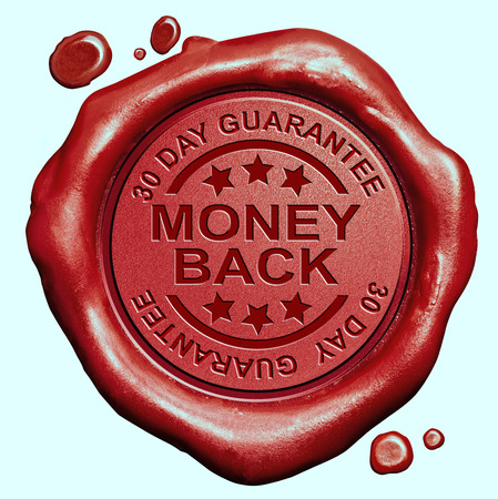 money back 30 day guaranteed red wax seal stamp 100% satisfaction customer service photo