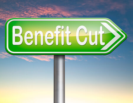 low income housing: Benefit cuts tax cut on housing child and social works reduce spending Stock Photo