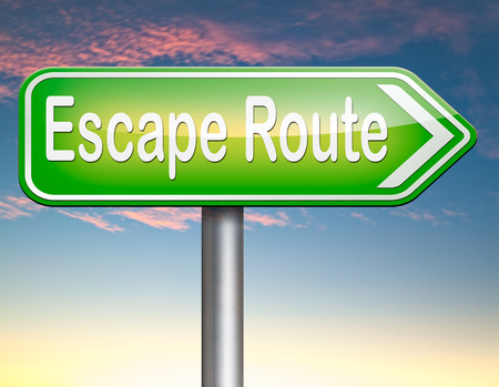 break out of prison: escape route avoid stress and break free running away to safety no rat race Stock Photo