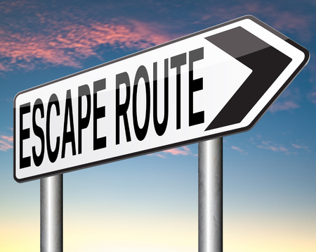 break out of prison: escape route to safety avoid stress and break free running away no rat race