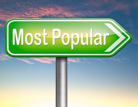 popularity: most popular sign popularity for bestseller or market leader and top product or rating in the charts Stock Photo