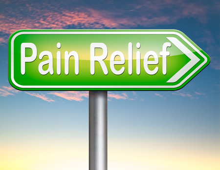 painkiller: pain relief or management by painkiller or other treatment chronic back pain sign with text Stock Photo