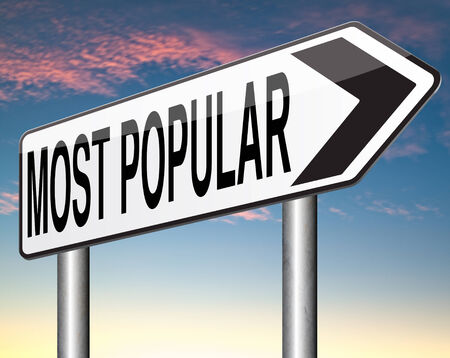 by popularity: most popular or wanted road sign popularity for bestseller or market leader and top product or rating in the charts Stock Photo