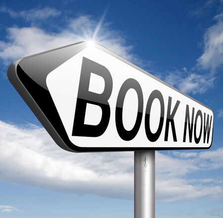 ing: online ticket reservation or book ing, book here and now Stock Photo