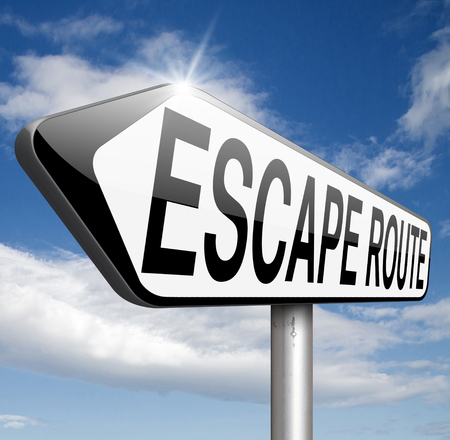 break out of prison: escape route avoiding stress and break free running away to safety no rat race emergency exit