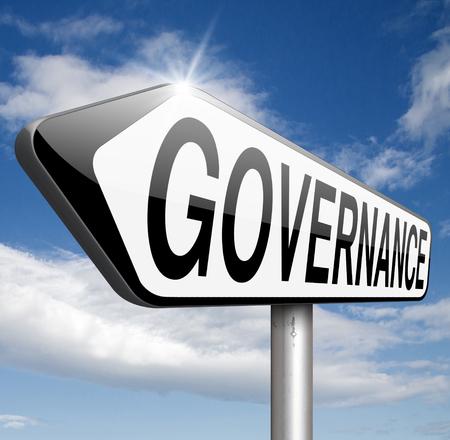 governance: bestuur besluitvorming goed eerlijk en consequent beheer van een corporate of mondiaal project consistente betrouwbaarheid Stockfoto