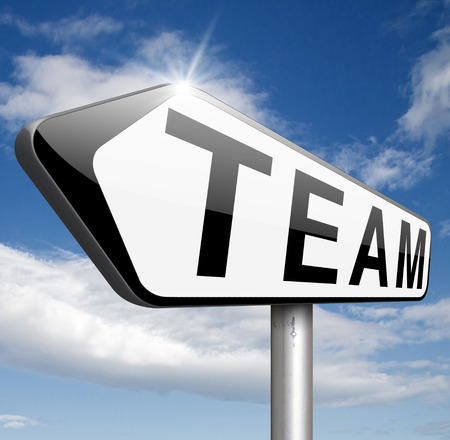 our team: Team or work or business our team banner about us sign