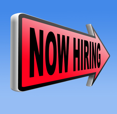 job opening: now hiring search job opening or offer for jobs vacancy help wanted Stock Photo