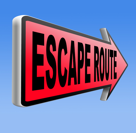 break out of prison: escape route avoid stress and break free running away to safety no rat race road sign