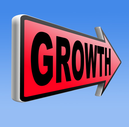 growth grow market stock or business development profit rise\ increase sign with text and word