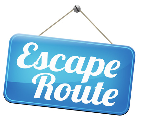 break out of prison: escape route emergency exit avoid stress and break free running away to safety no rat race