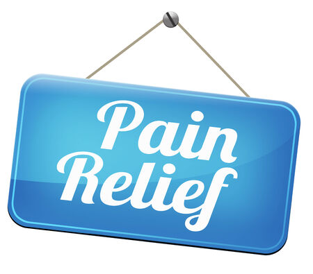 pain relief or management by painkiller or other treatment chronic back pain sign with text Stock Photo