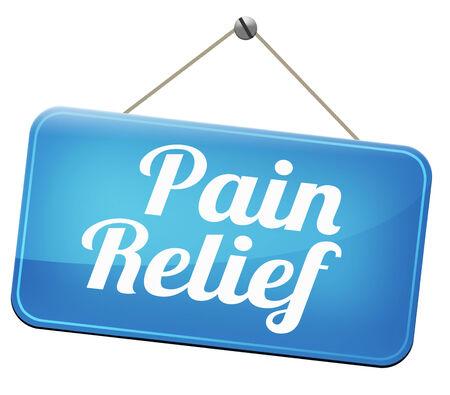 soulagement de la douleur ou de la gestion par signe de la douleur analgésique ou d'autres traitements chroniques au dos avec du texte