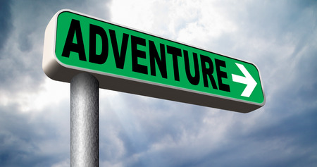 adventurous: adventure road sign travel and explore the world adventurous backpacking outdoors sport and nature vacation Stock Photo