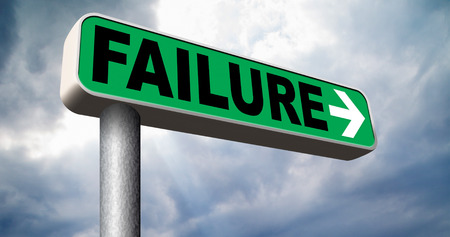 failing: big failure road sign arrow ends in disaster fail exam test or other attempt failing examination is a disappointment Stock Photo