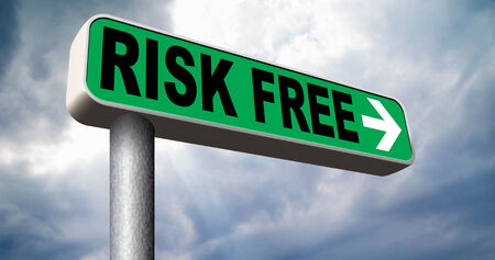 risk free: risk free no risks safe investment best top quality product money back guarantee road sign arrow guaranteed warranty invest safely