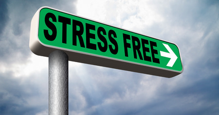 stress free: stress free zone take a break reduce work pressure spa relaxation wellness treatment stress test and management road sign Stock Photo