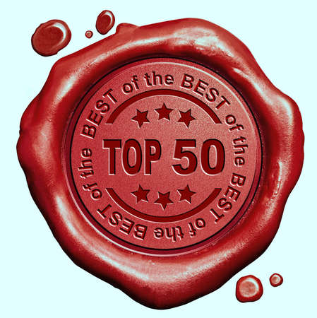 top 50 icon: top 50 chart ranking or winners result red wax seal stamp