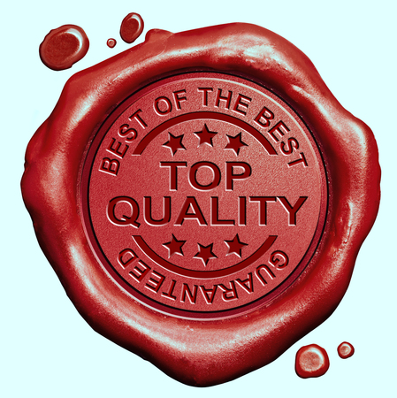 wax stamp: top quality label best of the best product guaranteed promotion red wax seal stamp Stock Photo