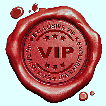 exclusive VIP treatment or tickets for very important people and celebrities red wax seal stamp Standard-Bild