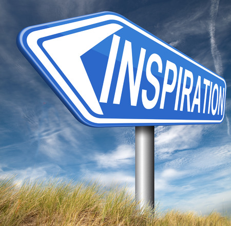 inspired: inspiration getting inspired be creative create and invent brainstorm and inspire with text and word inspirations Stock Photo