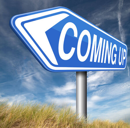 near: coming up or soon expecting in the near future Stock Photo