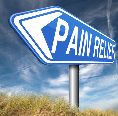 Pain Management: pain relief or management by painkiller or other treatment chronic back pain sign with text Stock Photo